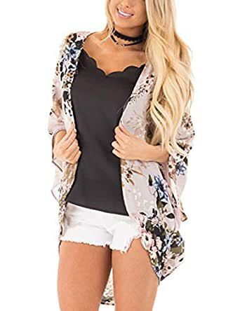 Omoone Women's Short Batwing Sleeve Floral Chiffon Cardigan Kimono Beachwear (LightCoffee, XS)
