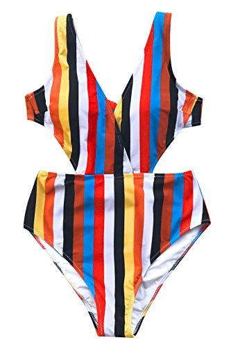 (CUPSHE Women's Stripe Print V Neck One-Piece Swimsuit Hollow Back Monokini)