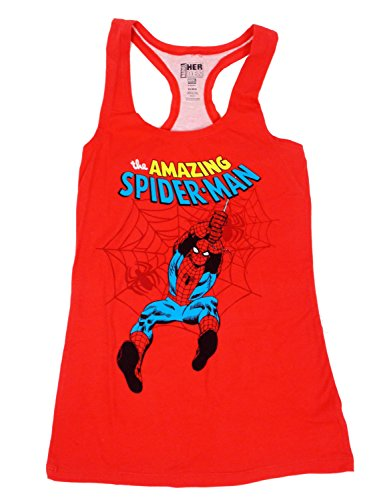 spider-man+tank+tops Products : The Amazing Spiderman Juniors Racer Back Tank-Top