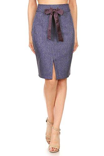 Anna-Kaci Womens Knee Length Tailored Denim Chambray High Waist Pencil Skirt, Blue, Small