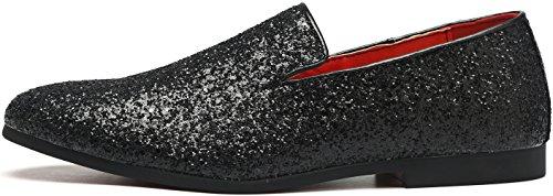 Loafers Black Wedding Textured Metallic Loafer Slip On Shoes Luxury Sequins Nightclub Men's Glitter HPB7gnqq