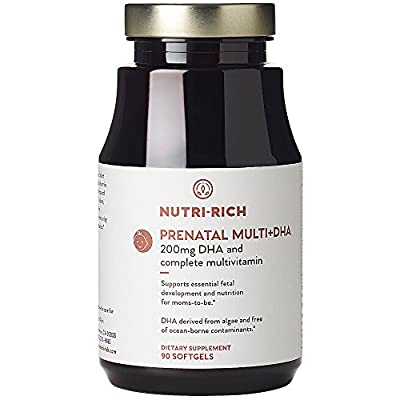 Once Daily COMPLETE PRENATAL MULTIVITAMIN by Nutri-Rich! Everything You Need For Healthy Mom & Baby, Vitamins A to E, Folate, Choline & DHA From Algae. Help Your Baby Grow! (90 Softgels)