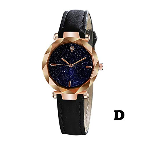 Kalinyer Wrist Watch Women Simple And Stylish Luxurious Starry Dial Convex Mirror Leather Strap Watch Bracelet Watch