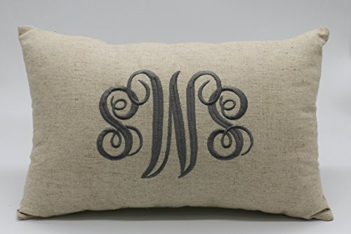(YugTex Pillowcases Embroidered Monogrammed PillowCover, Personalized Rustic Lumbar PillowCover, Throw Pillowcases, Gifts for Wedding, Housewarming, Couple Gifts, Nursery,Christmas Gifts)