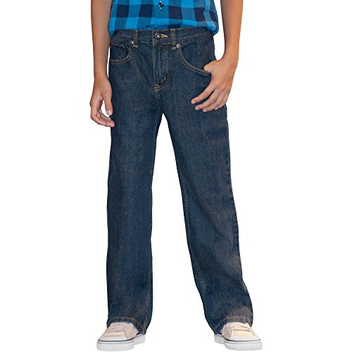 (Faded Glory Boys' Relaxed Fit Denim Blue Jeans (Slim) (10 Slim, Dark Stone))