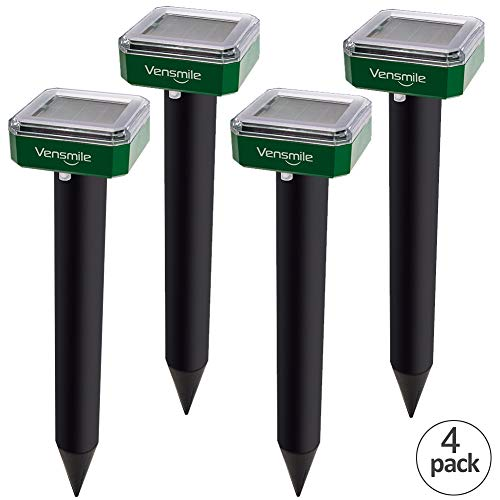 (VENSMILE 4 x Mole Repellent Solar Sonic Mole Repeller Gopher and Vole Chaser Spike Deterrent Traps Control Groundhog Away from Lawn and Garden (4))