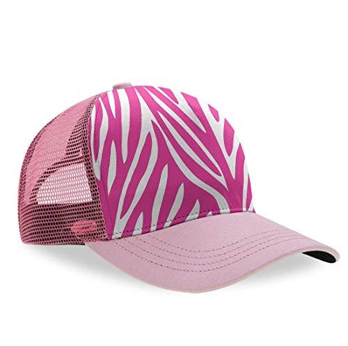 (Men's Women Dad Baseball Cap Meshback Military Cap for Baseball Dance Hiking Running, Pink Zebra Print Hip Hop Dad Cap Trucker Cap Vintage Snapback Cap)