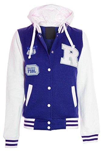 Blau School con Boxusa CBKTTRADE da Weiss donna Old Fox Fox giacca cappuccio College felpa Giacca Jacket wqgI6w