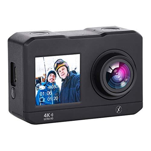LD Xmate Stunt Lite 16MP 4K WiFi Action Camera 2 HD Display Selfie Enabled 30m Waterproof Case 2 4G Remote Mounting Accessories Black