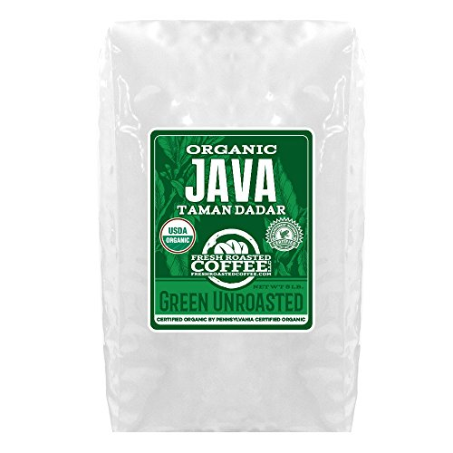 Green Unroasted Coffee, 5 Lb. Bag, Fresh Roasted Coffee LLC. (Organic Java Taman Dadar)
