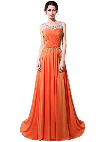 Perspektiv Chiffon mit Abendkleider Herzausschnitt Clearbridal Abschusskleider Ballkleider Lange CSD184 Orange Kristall Damen W8x8p7Ow