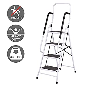 Giantex 2 In 1 Non-slip 4 Step Ladder Folding Four Step Ladder with Handrails with 330lbs Capacity