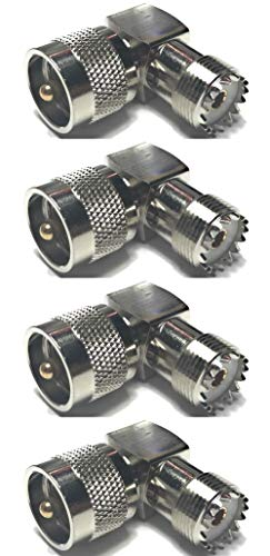 CESS Adapter Right Angle UHF Plug Male PL259 to SO239 Female Connector - UHF Male to UHF Female (jcx) (4 Pack)