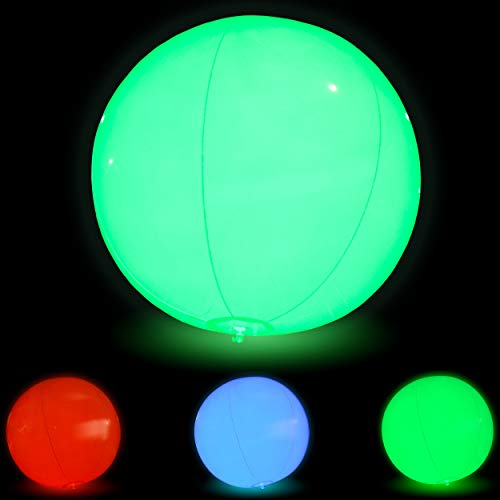 Large Floating and Inflatable LED Glow in The Dark Beach Ball Toy with Color Changing Lights | Great for Spring Break Parties, Pool/Beach Parties, Raves, or Blacklight / Glow Parties