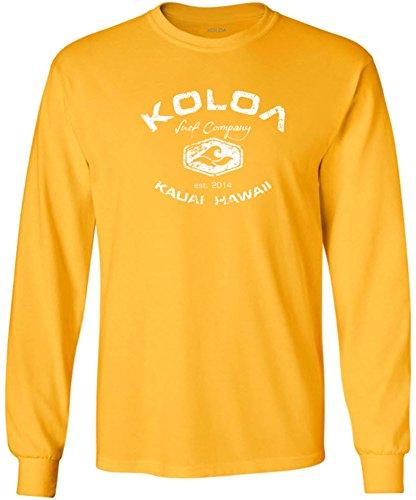 Cotton Vintage Sport Shirt - Koloa Surf(tm) Vintage Logo Heavy Cotton Long Sleeve T-Shirt-Gold/w-L
