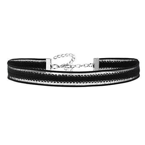 (Daesar Womens Stainless Steel Lace Flowers Choker Tattoo Silver Black Choker Necklaces, 31.7+8.5CM)