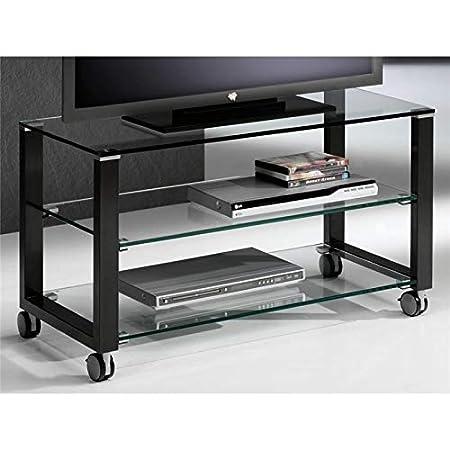 Mesa de Television Cristal con Patas Negras Aremi 95 cm: Amazon.es ...