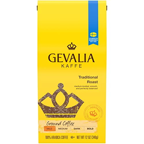 Ground Traditional - Gevalia Traditional Mild Roast Ground Coffee (12 oz Bags, Pack of 6)