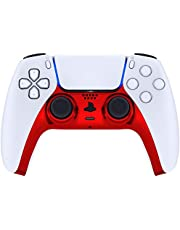 eXtremeRate Chrome Red Glossy Decorative Trim Shell for PS5 Controller, DIY Replacement Clip Shell, Custom Plates Cover for Playstation 5 Controller w/ Accent Rings - Controller NOT Included