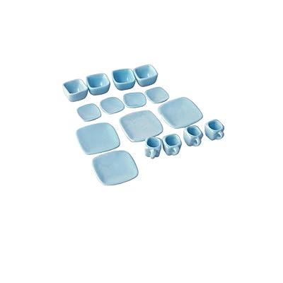 01:12 Mini porcelana en miniatura de té de cerámica Set con tazas de té y platillos para 16pcs Dollhouse azul claro: Juguetes y juegos