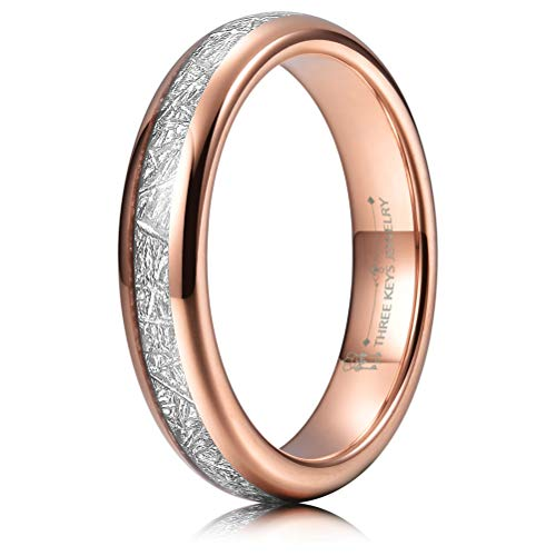 - THREE KEYS JEWELRY 4mm Tungsten Wedding Ring Imitated Meteorite Inlay Rose Gold High Polish Dome Wedding Band Size 11