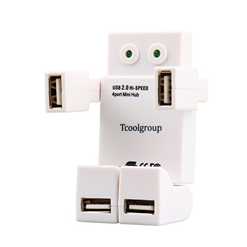 Pink Networking Cables (New Robot [USB Hub 2.0] Tcoolgroup Mini High speed HUB with 4 usb port for notebook LED Eyes (Green Pink White))