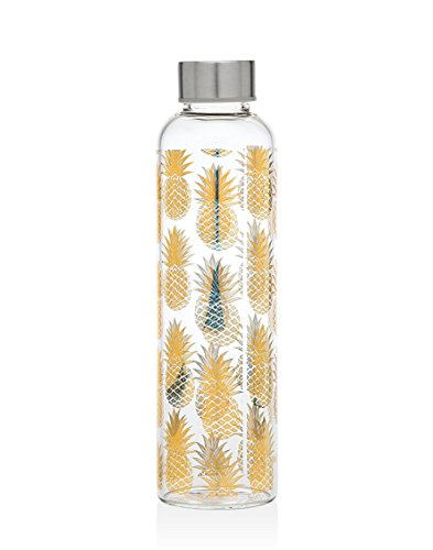 - Godinger 20 Oz. Glass Pineapple Water Bottle for Beverage and Juice, Stainless Steel Leak Proof Cap