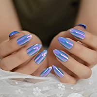 HONGER Fake Nails Purple Glitter Sparkling Artificial Nail Oval Medium Jelly Full Cover Press On Nail Designed Twinkly Fake Nails