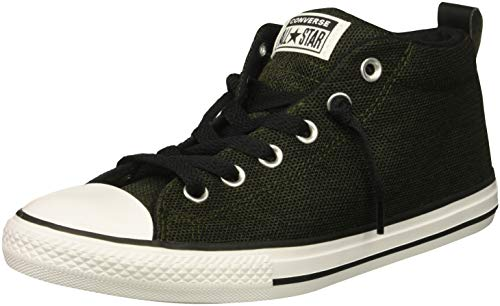 Converse Boys' Chuck Taylor All Star Two-Tone Street Mid Sneaker, Utility Green/Black/White, 4 M US Big Kid]()