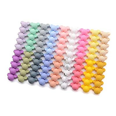 JINGYANHUA 20Pcs Mickey Baby Teething Beads Cartoon Silicone Beads for Necklaces BPA Free Teether Toy Accessories Nursing DIY,Cream Color: Home & Kitchen