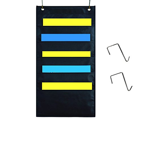 (Kruideey Premium Fabric Office Supplies Storage Organizer Wall File Holder for Office Hanging Magazine Holder with Five Pockets Hanging File Pocket Chart with Metal - RackBlack(5 Pockets))