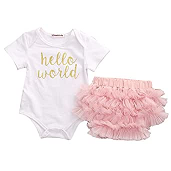 3pcs Newborn Baby Girls Letter Short Sleeve Romper Jumpsuit +Lace Tulle Shorts Pants Outfit With Headband (0-3months)