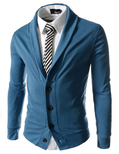 TheLees Mens Slim Fit Collar Point Button Cardigan
