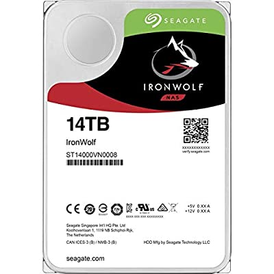 Seagate IronWolf 14TB NAS Internal Hard Drive HDD - 3.5 Inch SATA 6Gb/s 7200 RPM 256MB Cache for RAID Network Attached Storage (ST14000VN0008) by Seagate Bare Drives