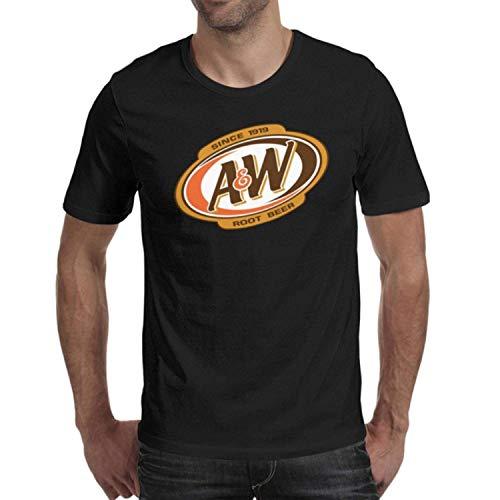 (DaWang Round Collar T Shirt Men A&W-Root-Beer-Logo- Vintage Top)