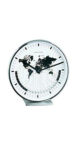 Hermle Buffalo II Nickel Plated World Time Tabletop Clock