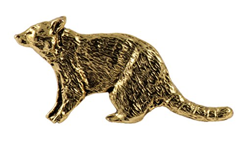 Wildlife Pin (Creative Pewter Designs Pewter Raccoon Handcrafted Wildlife Lapel Pin Brooch, 24k Gold Plated, MG172)