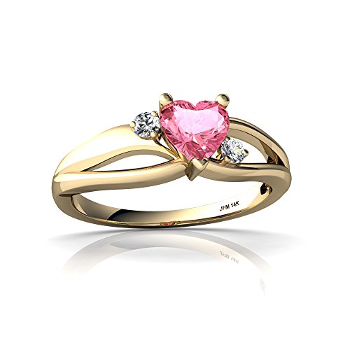 - 14kt Yellow Gold Lab Pink Sapphire and Diamond 5mm Heart Split Band Swirl Ring - Size 8