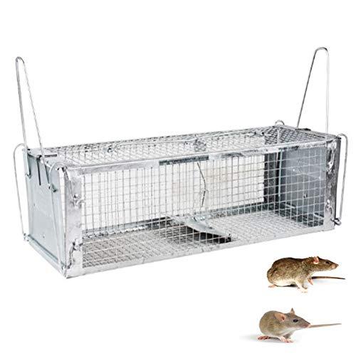 De Dos Puertas Humano Vivo Jaula Trampa De Rata Animal, Capturador De Ratón Pequeña Trampa De Animales De Interior Al Aire...