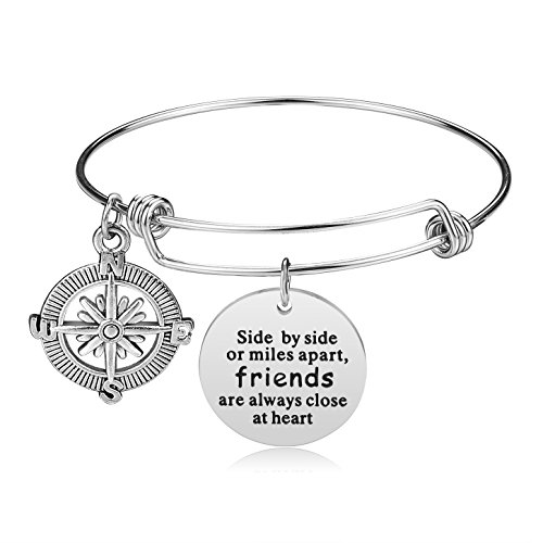 Friendship Jewelry Gifts - iJuqi Bracelet - Expendable Inspirational Bangle Bracelets BFF Jewelry Graduation Gifts for Women Teen Girls Sisters, Stainless Steel