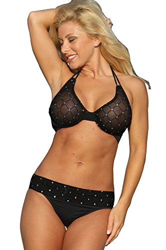 UjENA Sheer Diamond Banded Thong Bikini Top Only ()