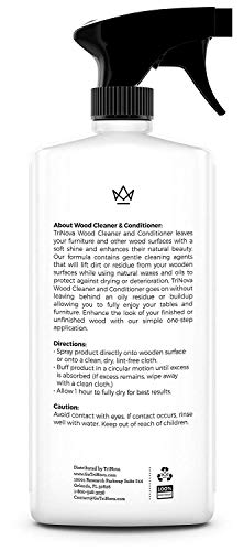 Wood Cleaner, Conditioner, Wax & Polish - Spray for Furniture & Cabinets - Removes Stains & Restores Shine - Wax & Oil Polisher - Works on Stained & Unfinished Surfaces - 18 OZ - TriNova