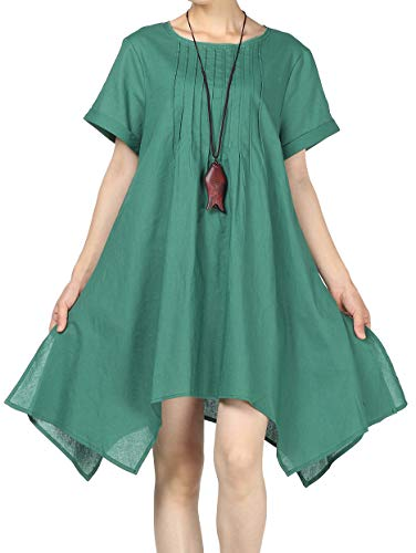 Mordenmiss Women's Cotton Linen Tunic Dress Irregular Hem Short Sleeve Loose T-Shirt Dresses (L, Asymmetry-Green) from Mordenmiss