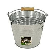 bulk buys OL564 Large Metal Garden Bucket, Silver/Beige