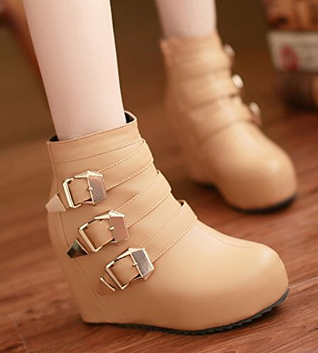 Aisun Kvinna Höjd Hissplattform Kil Boots Ljusbrun