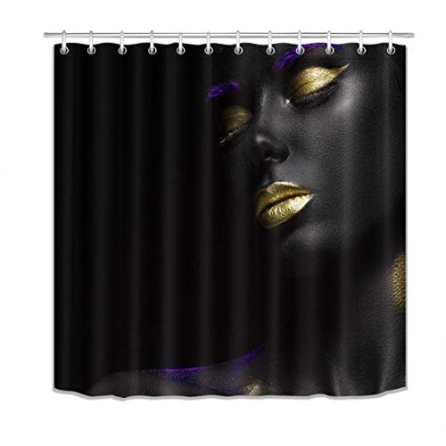 LB African American Shower Curtains,3D Printing Gold Lips Afro Black Girl Shower Curtain Polyester Fabric Waterproof African Bathroom Sets 72 x 72 Inches with Hooks