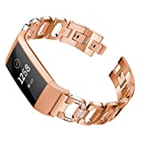 Binmer(TM) D Word Metal Bracelets 195MM Replacement Adjustable Straps Crystal for Fitbit Charge