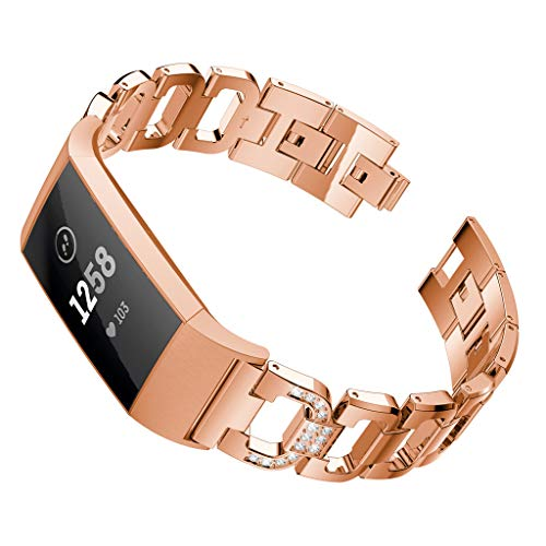 Harpi Fashion D Word Metal Bracelets for Women Girls Wristband Watch Band Adjustable Straps Fit Fitbit Charge 3 Watch Replacement Strap (Rose Gold) (Assorted 18 Roses)