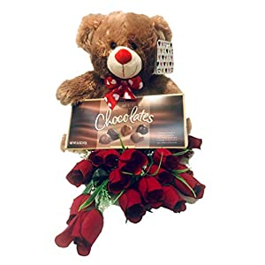 Valentines Day Gift set| 12 Inches Plush Bear| 24 Beautiful Long Stem Artificial Rose Banquet| Elmer Premium Chocolate Assortment| For Wife, Girlfriend, Mother, or Best friend. (For Love) 12