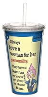 Tree-Free Greetings 16-Ounce Cool Cup with Reusable Straw, Aunty Acid Plenty of Choices (CC98641)